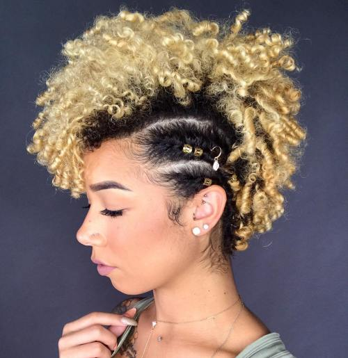 Black And Blonde Curly Natural Fauxhawk