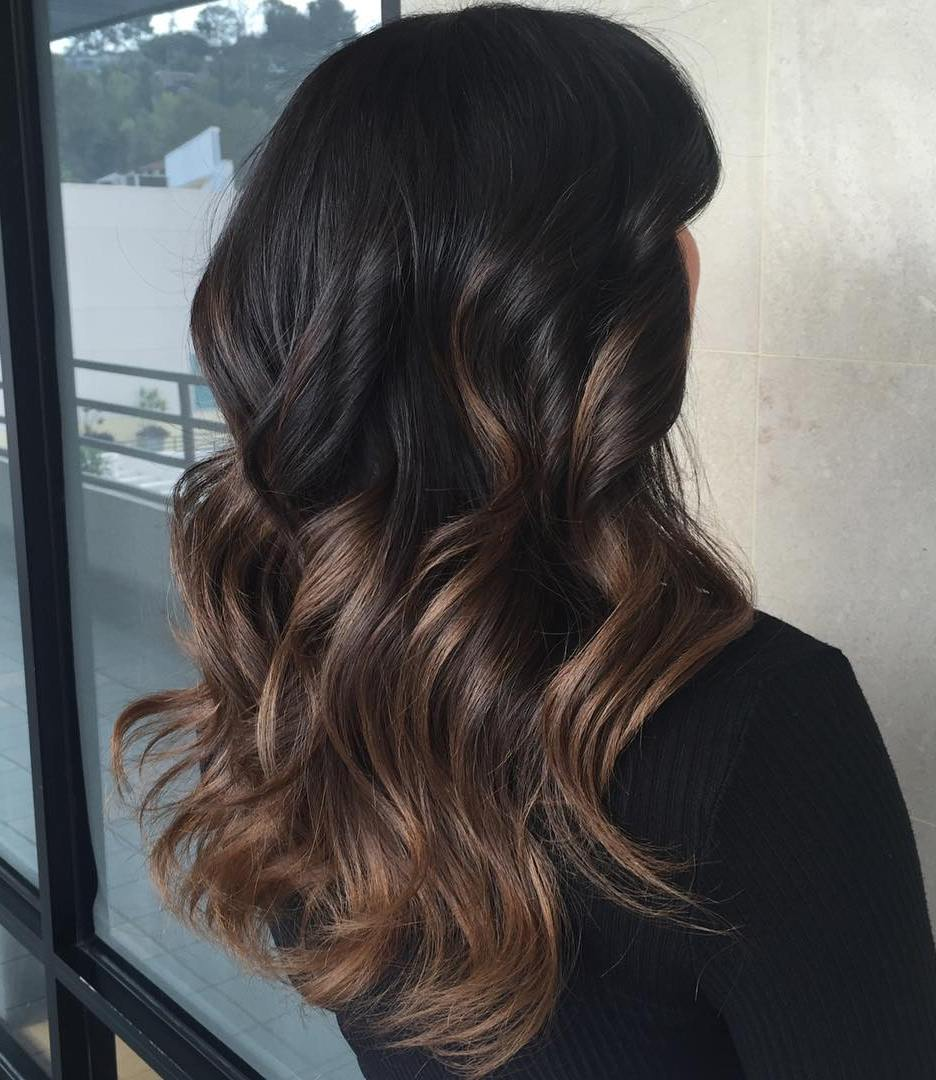 Black hair with blonde ends - Black To Brown Ombre Balayage