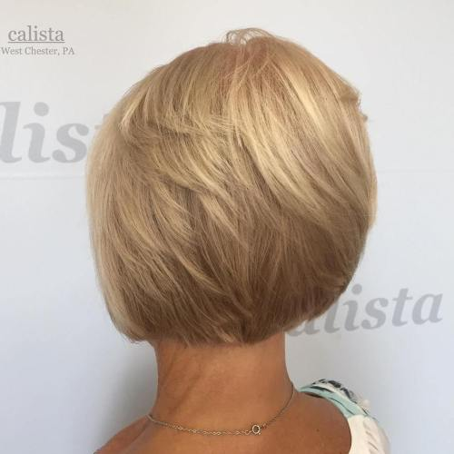 Creamy Blonde Layered Bob
