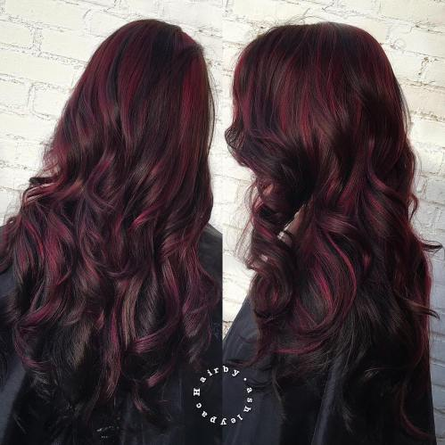 Long Black Hair With Burgundy Highlights