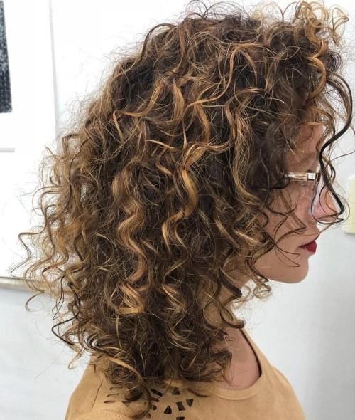Medium Bouncy Curly Honey Brown Hairstyle