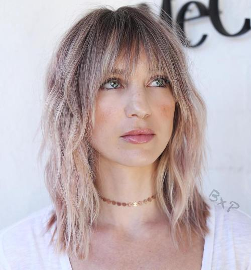 Mid Length Choppy Cut With Bangs