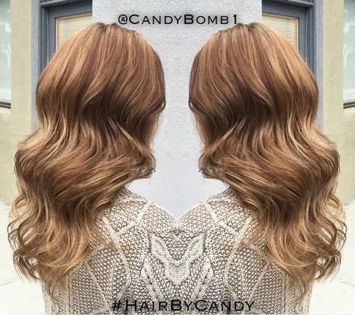 long light brown wavy hairstyle
