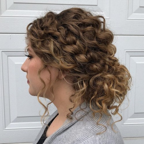 Low Updo With Braids For Curly Hair
