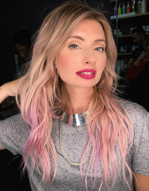 Pastel Pink Balayage For Blonde Hair