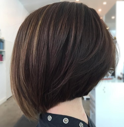 Stacked Brunette Bob with Blunt Edges