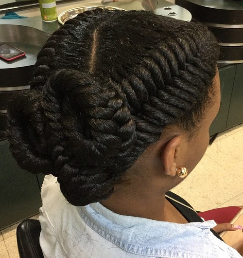 two fishtails twisted updo for black women