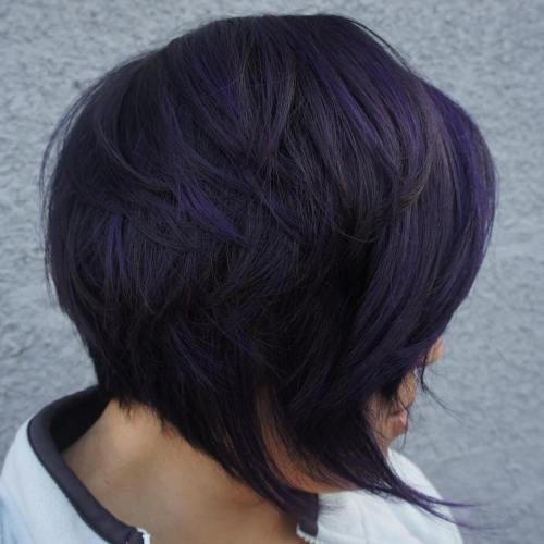 Black Layered Bob With Blue Highlights