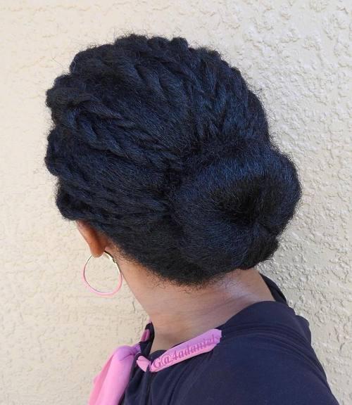Braids Into Bun For Natural Hair