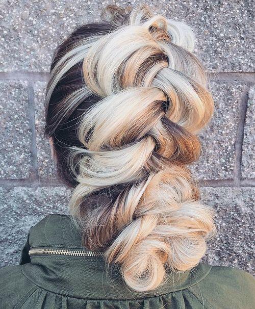 chunky braid updo