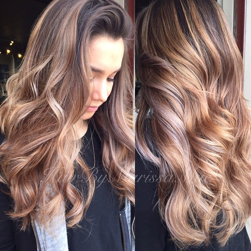 light brown hair with dark brown roots