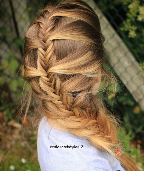 Messy Fishtail Braid For Straight Hair