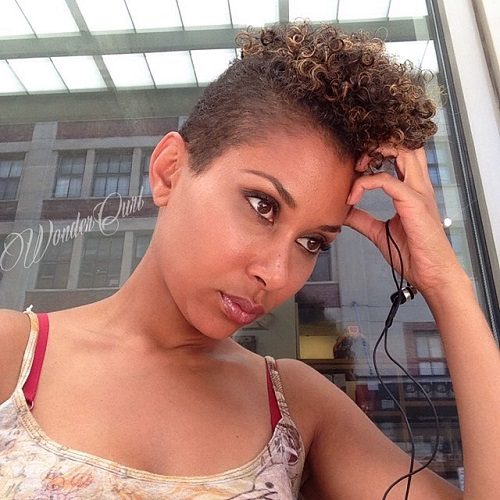 Short Sides Curly Top Hairstyle For Women