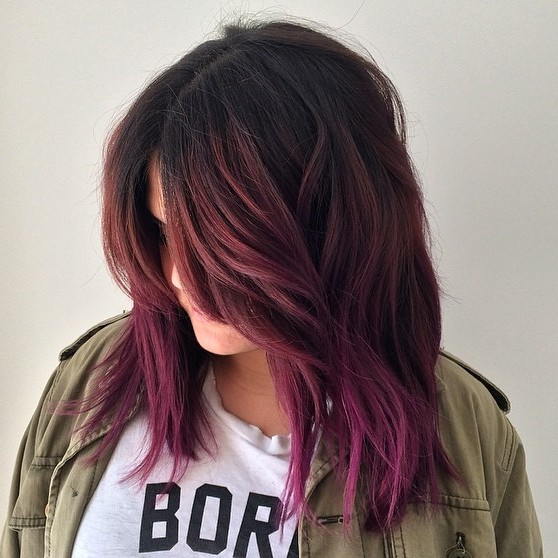 Violet Ombre For Dark Brown Hair