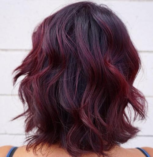 Black Bob With Burgundy Balayage