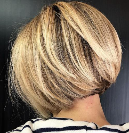 Caramel Blonde Layered Bob for Thick Hair