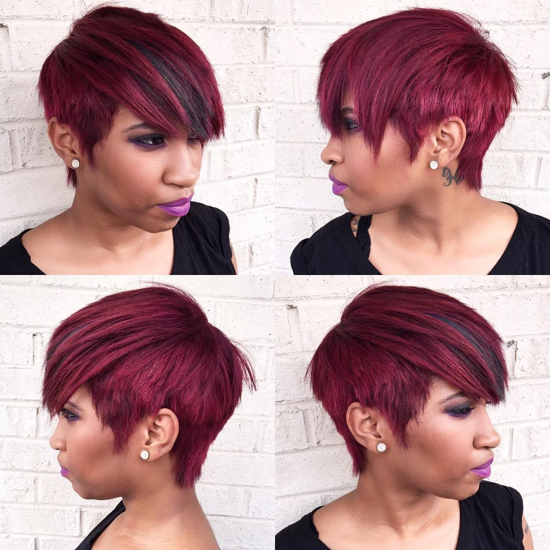 Choppy Burgundy Pixie For Black Women