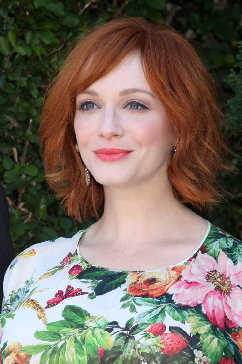 Christina Hendricks shaggy bob hairstyle