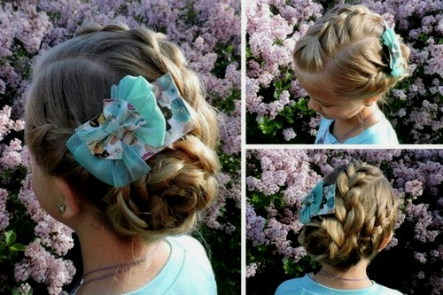 three braids into low bun girls hairstyle