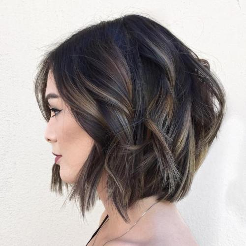 Black Wavy Bob with Subtle Highlights