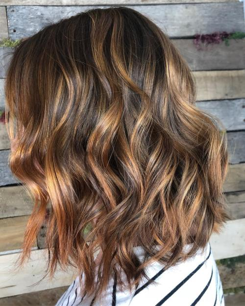 Brown Bob With Golden Balayage