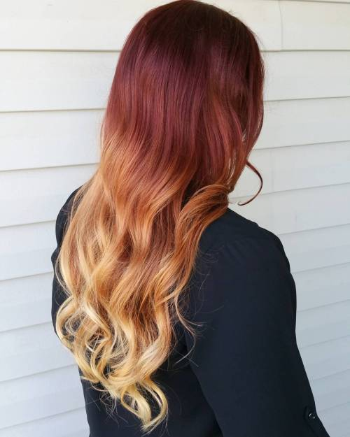 Burgundy To Blonde Ombre