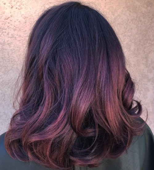 Pastel Purple Burgundy Balayage