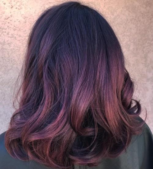Pastel Purple Burgundy Balayage