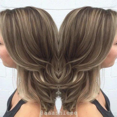 ash brown hair with thin highlights