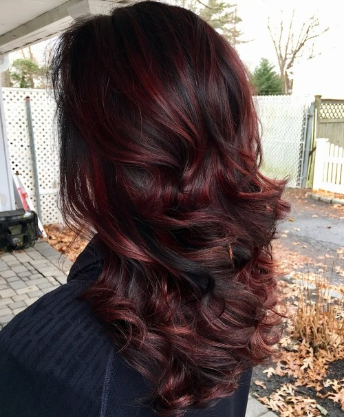 Burgundy Highlights For Black Hair