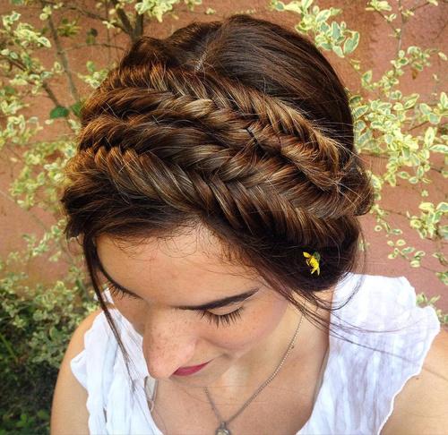 double fishtail braid updo