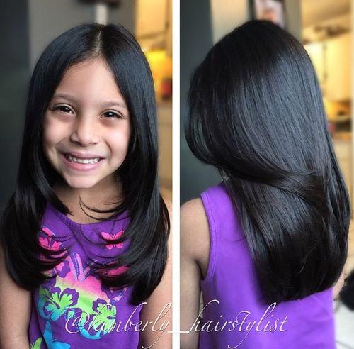 Long Girlsu0027 Haircut With Face Framing Layers