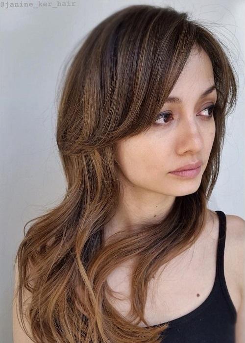 Long Haircut With Long Side Bangs