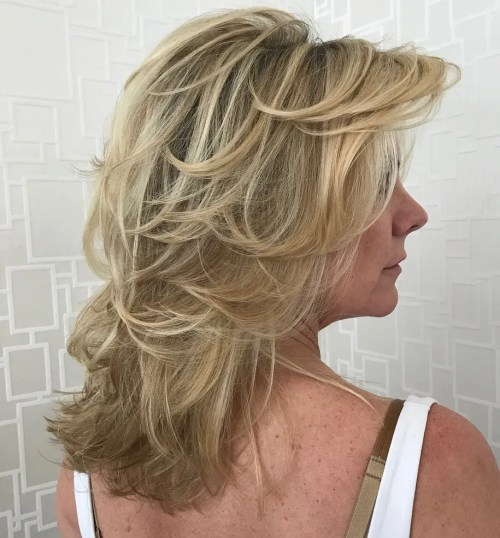 Mid-Length Shaggy Hairstyle For Over 50