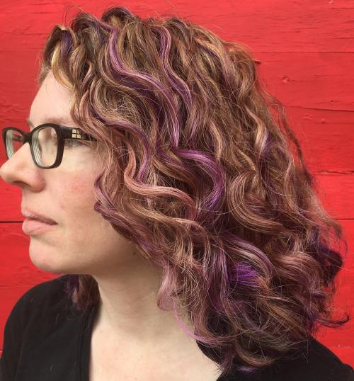 Red Curly Hair with Purple Highlights