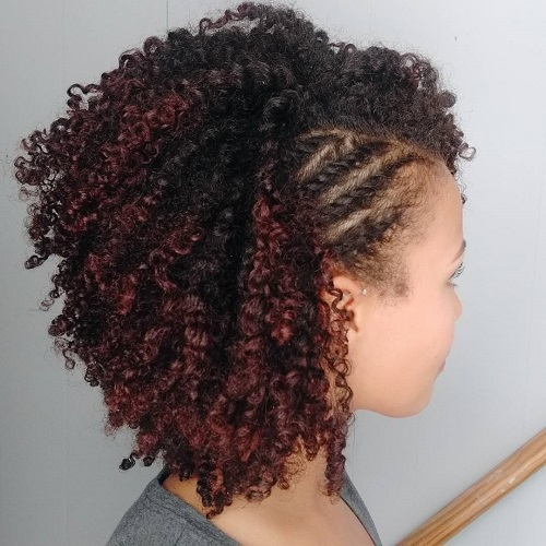 Short Black Curly Hairstyle With Side Twists
