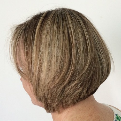 50+ Brown Layered Bob