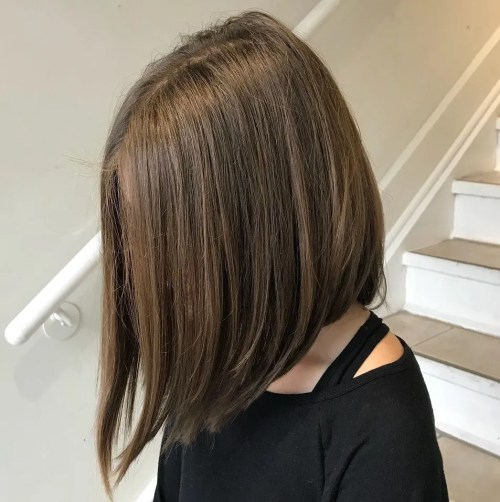 Centre-Parted Angled Long Bob