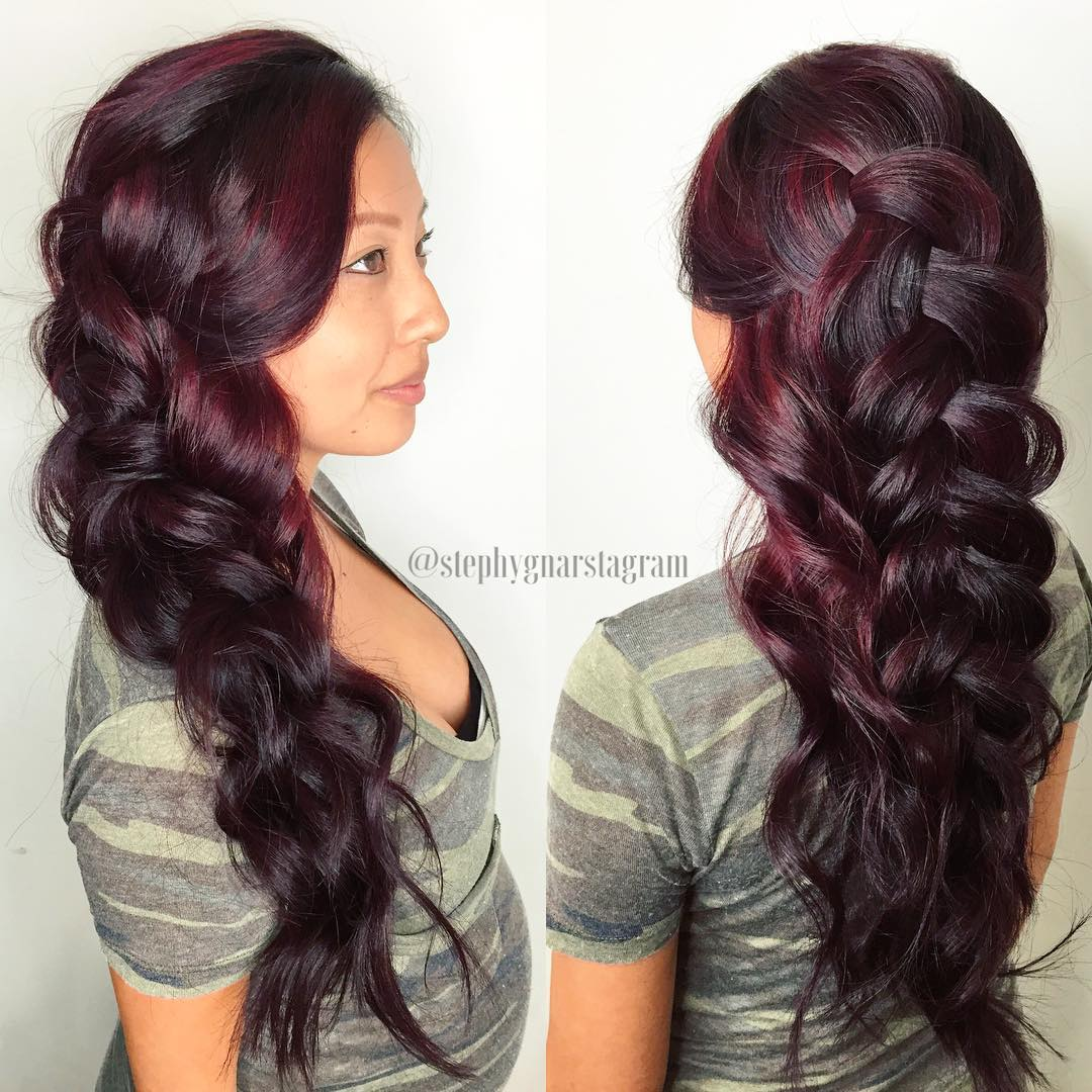 Long Braided Burgundy Hair With Highlights