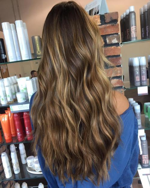 Warm Bronde Highlights For Long Brown Hair