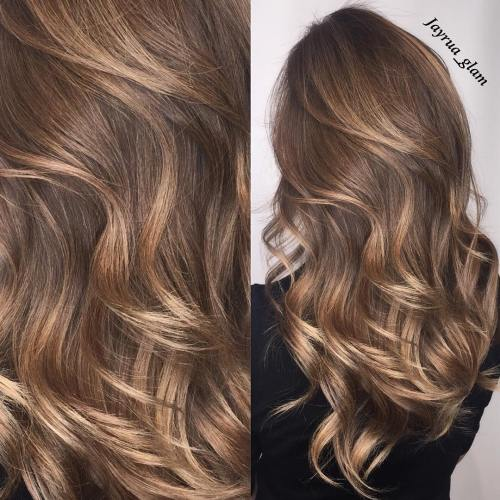 Subtle Light Brown Highlights For Brunettes
