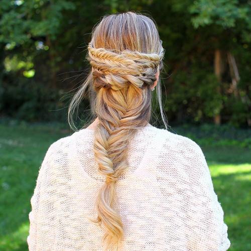 fishtail braid hairstyle for long hair