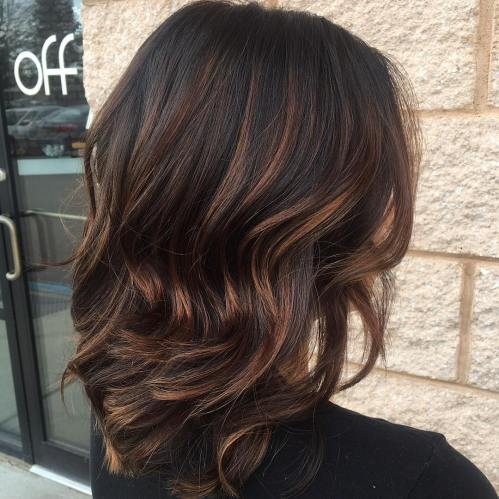 Thin Caramel Highlights for Black Hair