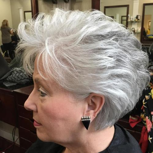 50+ Voluminous Gray Hairstyle for Short Hair