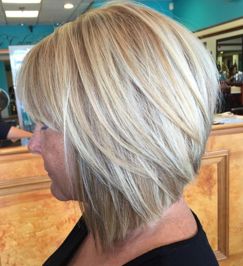 Angled Blonde Bob With Bangs