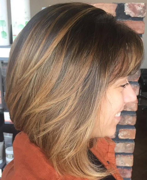 Brown Balayage Bob With Bangs