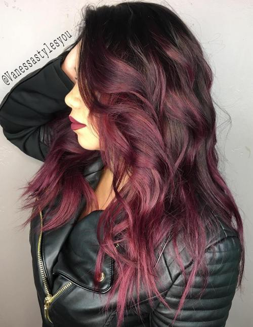 Burgundy Balayage For Brown Hair
