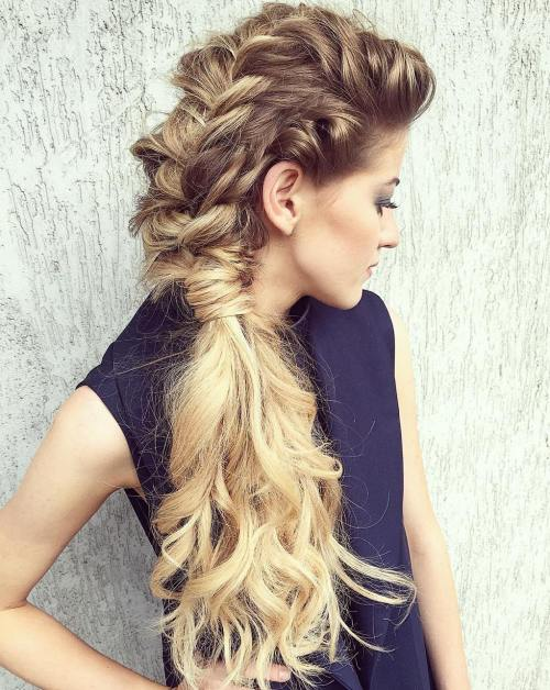 Curly Braided Mohawk For Long Hair