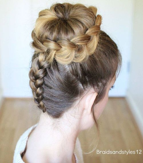 dutch braid and bun updo