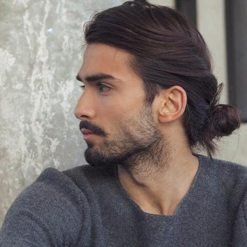 men's low knot casual hairstyle